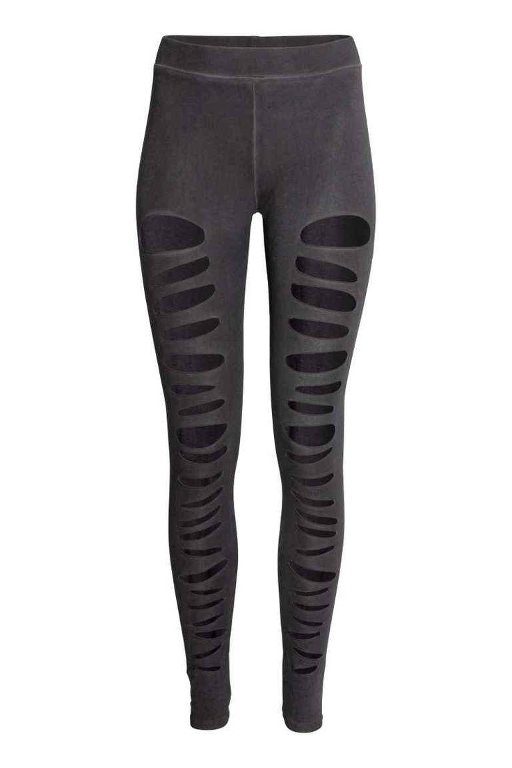 Dżersejowe legginsy Ripped - Czarny sprany - ONA   H&M PL 1
