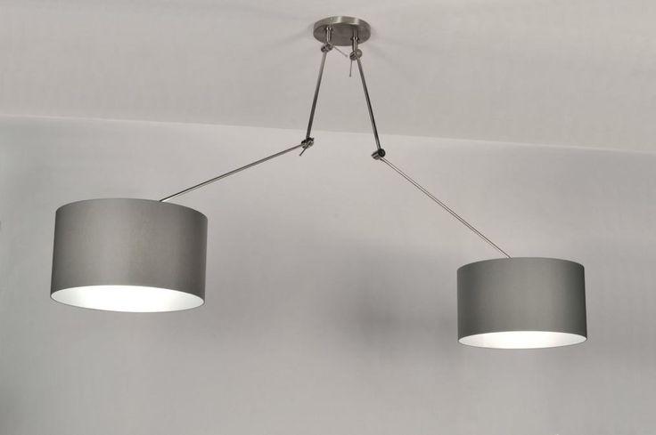hanglamp 30110: modern, grijs, stof, rond