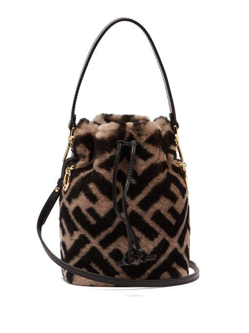 716e03513 Fendi Mon Tresor logo-print shearling bucket bag | WEAR in 2019 ...
