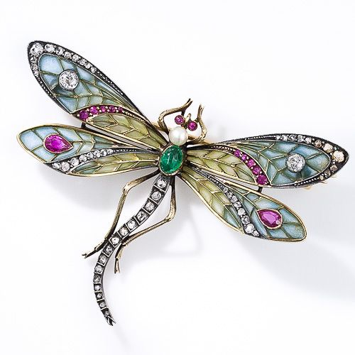 Art Nouveau 18k Silver Over Gold, Plique-a-Jour Enamel, Diamond, Ruby, Emerald And Pearl Dragonfly Brooch  c. 1900