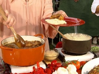 ree on good morning america, blackberry peach cobbler, peach chicken and cheese grits