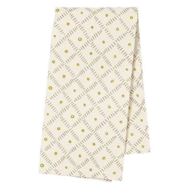 Weave Tea Towel in Grey & Citron
