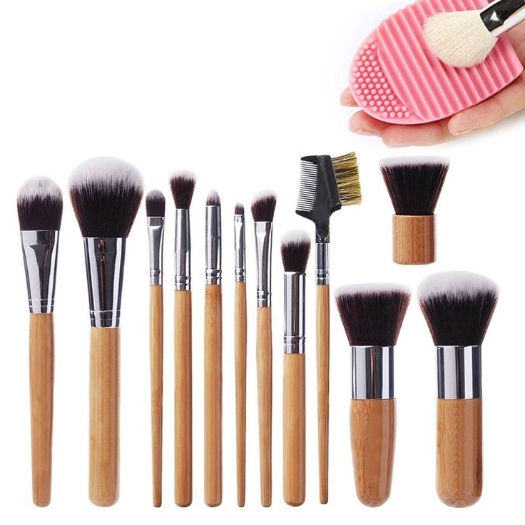 Lote de Brochas y pinceles de Maquillaje (12 unidades) Juego de Brochas de Maquillaje Profesional Cosmético Brush Sombra Con Microfibra de Ingeniería de Cerdas Materiales Mango de Bambú Estuche