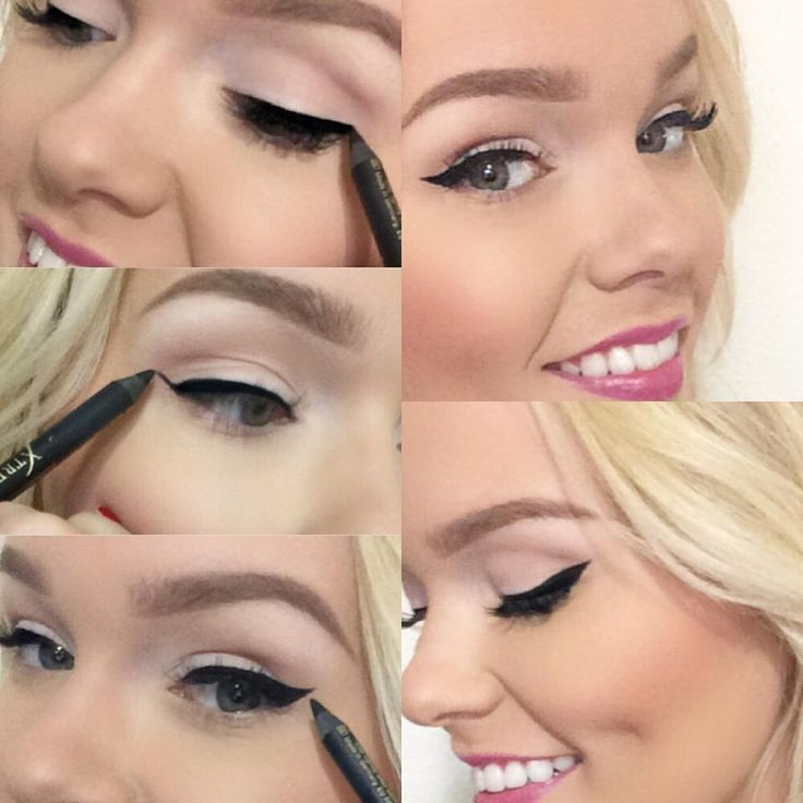 PERFECT winged cat eyes every time! 1. Using Xtreme Lashes GlideLiner in Xtreme Black, draw thin line across lash line. 2. Using lower lash line as a guide, draw a thin line from outer corner of eye, up toward brow. 3. Draw a straight line inward to connect end of wing to the lash line. Fill 'triangle' as needed.  www.xtremelashes.ro