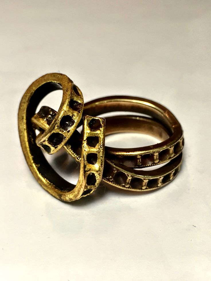 Antique brass (1920) wrap wire ring with 23k gold leaf accents