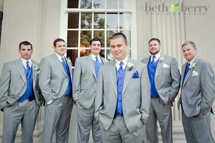 Groosmen grey tuxedos with horizon blue vests and ties
