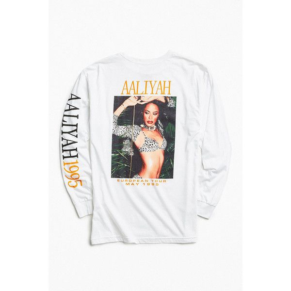 Aaliyah 1995 Long Sleeve T-shirt ($47) ❤ liked on Polyvore featuring men's fashion, men's clothing, men's shirts, men's t-shirts, white, mens cotton shirts, mens white graphic t shirts, mens white cotton shirts, mens cotton t shirts and mens long sleeve cotton shirts