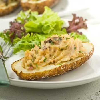 Gluten Free Horseradish Mushroom Baked Potatoes Recipe. Vegan.