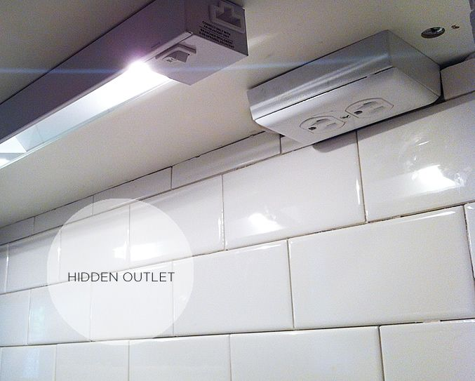 Hidden outlets under the cabinets instead of breaking up the ... on