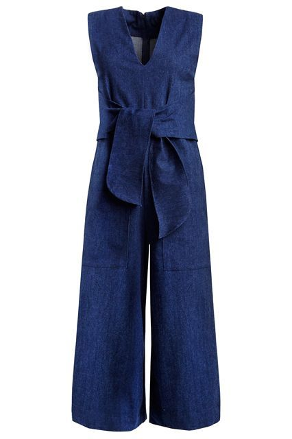 Everything is even better with a bow and an affordable price.New Revival Denim Culotte Wrap Tie Jumpsuit, $129, available at Pixie Market. #refinery29 http://www.refinery29.com/jumpsuits-for-women#slide-10