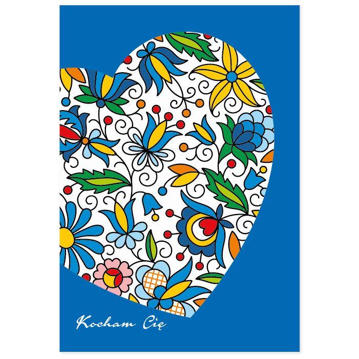 Kartka okolicznościowa + koperta   FOLK SERCE – kaszubskie hafty
