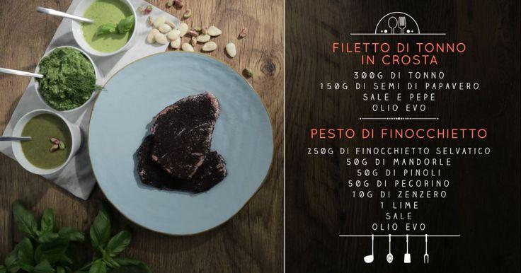 Prepara un secondo dai sapori siciliani: il tonno in crosta di papavero con un pesto fresco al finocchietto. La ricetta di Chiara Maci è rapida e di grande effetto.