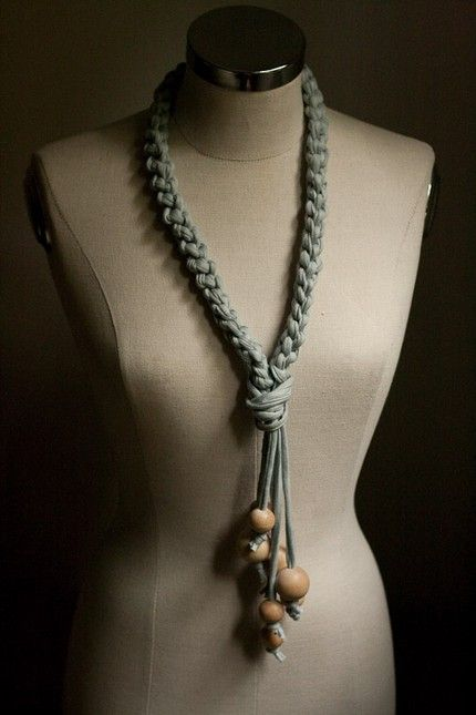 Braided wooden bead necklace ~ cute