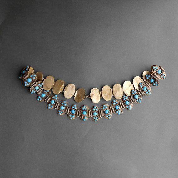 Vintage Tibetan Belt Necklace. Turquoise Glass. Metal.