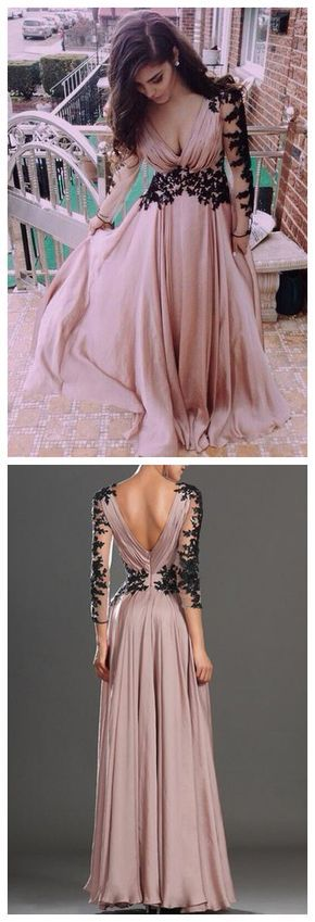 V-Neck Long Sleeve prom dresses,Lace Prom Dress/Evening Dress,sexy prom dress,prom dress long