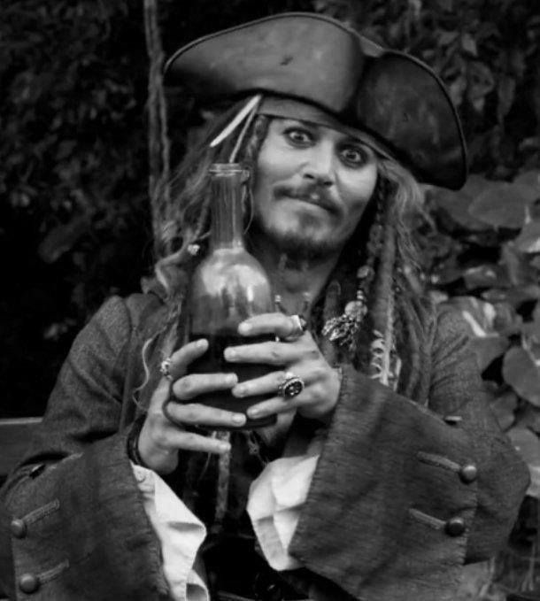 Jack Sparrow with his rum