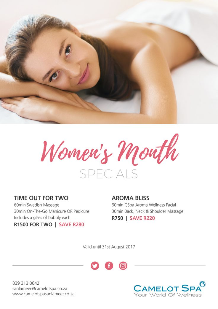 Ladies, let your hair down and come enjoy a well deserved pamper session at the Camelot Spa at San Lameer with these Women's Month Specials.