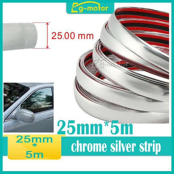 25MM x 5M Universal Car SIDE Trim Molding Interior CHROME Silver Strip U Style in Vehicle Parts & Accessories, Car, Truck Parts, Exterior | eBay