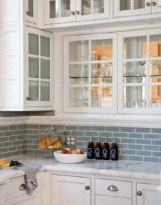 Blue tile and marble countertops!