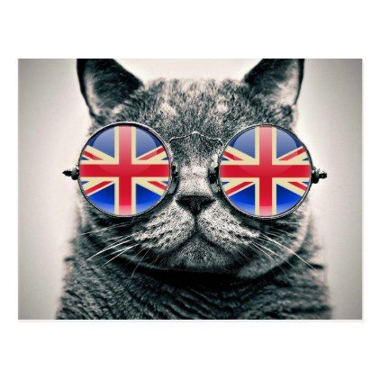 Funny hipster cat UK flag vintage glasses Postcard - animal gift ideas animals and pets diy customize