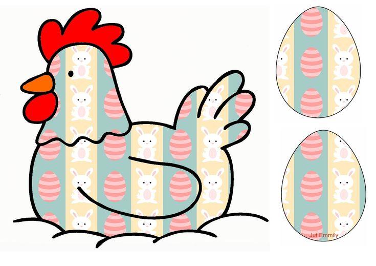 Activiteit 2 Leg cijferkaartjes of getalbeeldkaartjes boven de kippen en laat de kinderen tellen hoeveel eieren ze bij elke kip moeten leggen. (Juf Emmily)