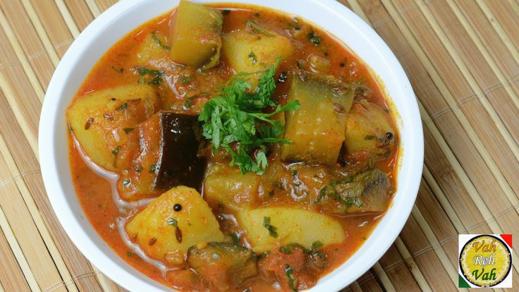 Brinjal Aloo - Eggplant Potato Curry with Onion Tomato Gravy - By Vahche...