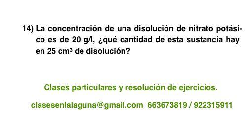 Ejercicio 14 propuesto de Concentración de disoluciones: gramo / litro