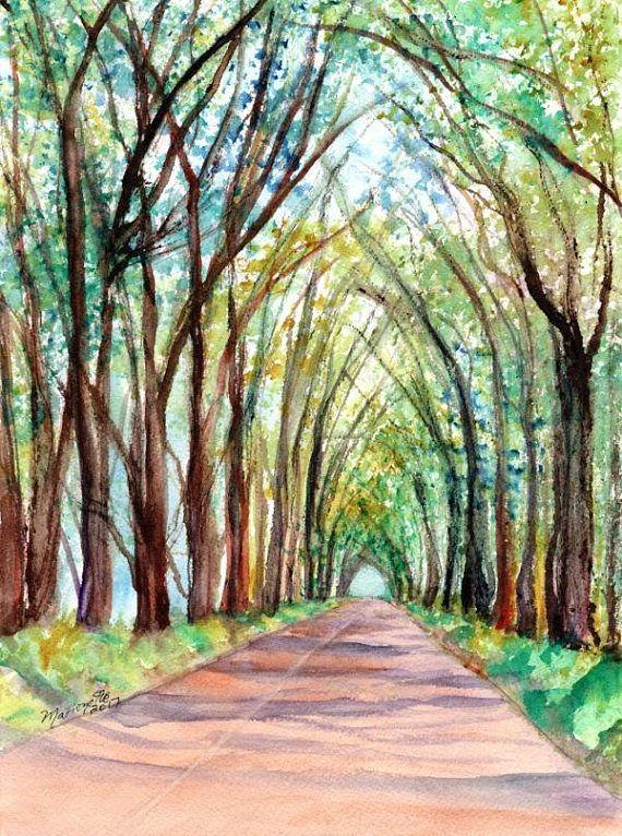 kauai tree tunnel watercolor painting hawaiian paintings