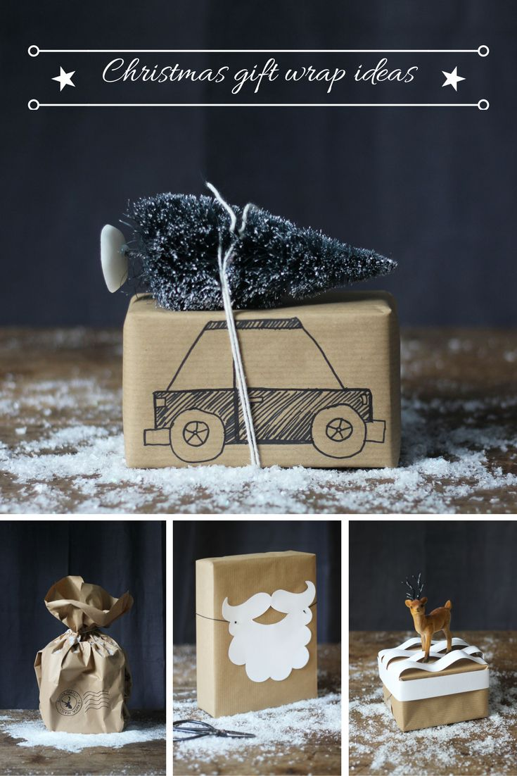 Six easy Christmas gift wrap ideas using brown kraft paper