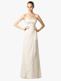lacný bez ramienok stĺpec štýl šifón a satén svadobné šaty s prekrytím lacný