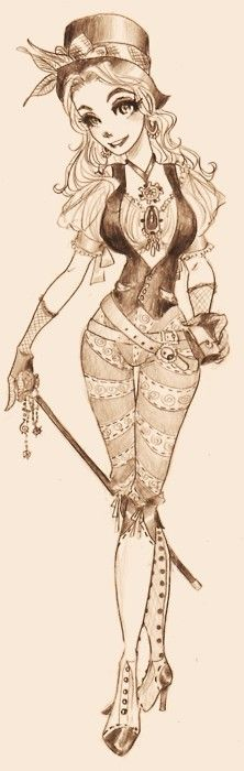 Steampunk Chick  by *oasiswinds.  Different costume idea...but this would be awesomely cool to pull off.