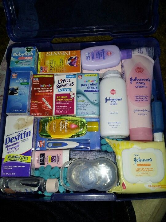 Baby survival kit. This kit includes all meds and other essentials you may need for baby. Baby vicks rub, motrin, tylenol, desitin diaper rash ointment, baby shampoo/lotion/oil, sun screen, baby wipes, pacifier/binky, thermometer, hand Sanitizer, breast pads, baby powder, and a nose bulb for removing those hard to reach boogers.