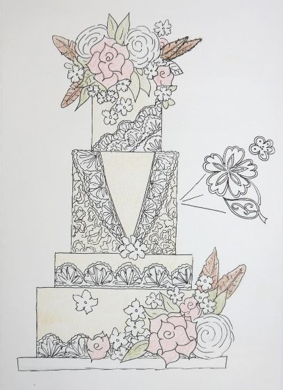 drawing of a wedding cake design, lace featheres and beautiful flowers | Cakes By Beth