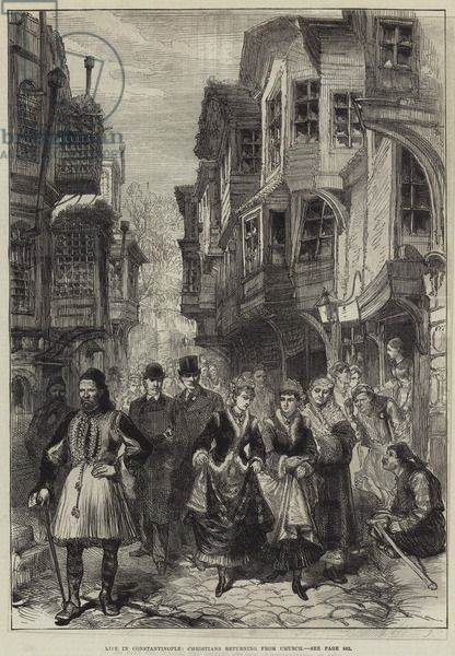 Life in Constantinople, Christians returning from Church (engraving) Bridgeman Images
