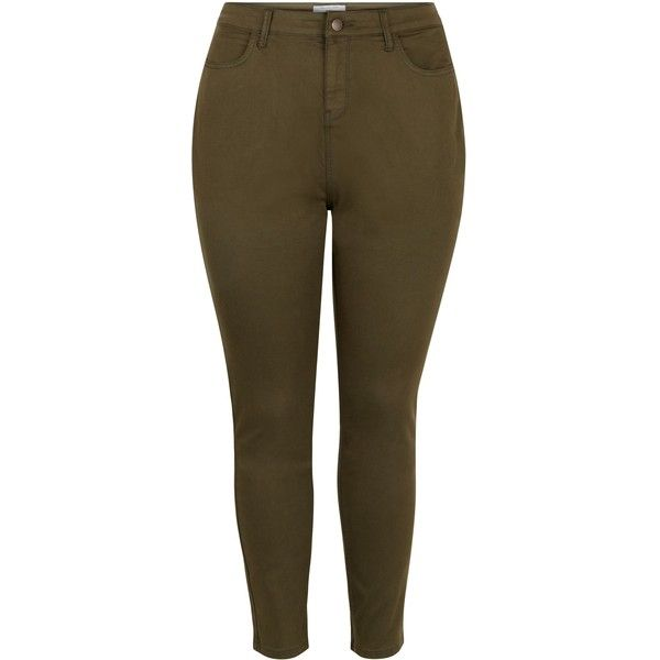 New Look Plus Size Khaki Skinny Jeans ($13) ❤ liked on Polyvore featuring jeans, plus size, khaki, pants, brown skinny jeans, skinny jeans, khaki jeans, utility jeans and plus size khaki jeans