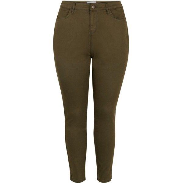 New Look Plus Size Khaki Skinny Jeans (280 NOK) ❤ liked on Polyvore featuring jeans, khaki, pants, plus size, brown jeans, utility jeans, cut skinny jeans, plus size khaki jeans and khaki jeans