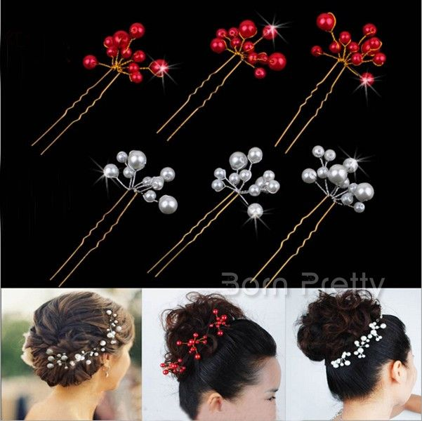 $0.87 1pc Colors Simulated Pearl Crystal Hair Pin Fork - BornPrettyStore.com