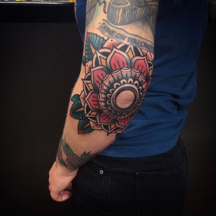 Mandala Flower Tattoo Elbow 1000 Geometric Tattoos Ideas Lotus