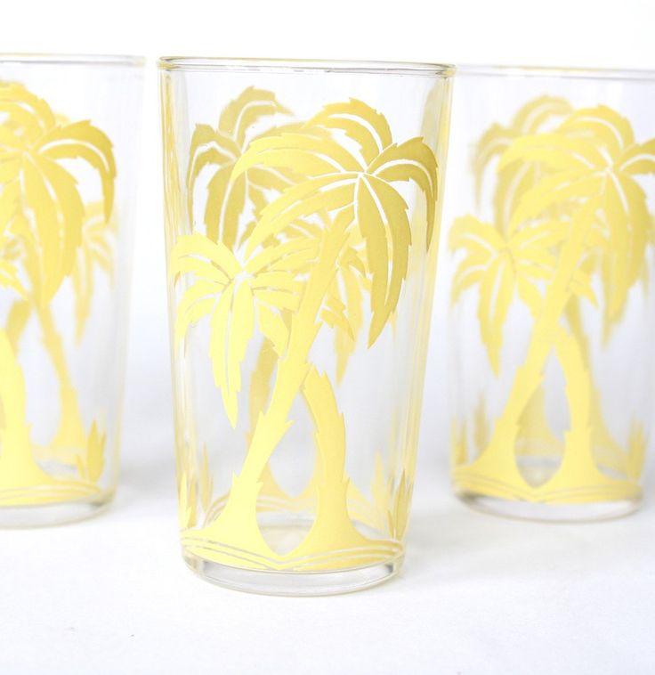 Glasses Drinking Beverage Glasses Yellow Palm Tree Juice Glasses Retro Home  Decor Vintage Kitchen Kitsch Via