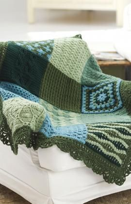 Sampler afghan, free pattern from Red Heart - love the edging. crochet