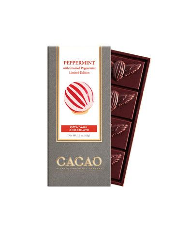 This special Holiday Limited Edition bar is made from our Blend 29 Bean-to-Bar chocolate and features pure peppermint oil and crushed peppermint candy.  60% Dark Cacao Blend 29 Bean-to-Bar Chocolate  Net wt. 1.5oz (43g)