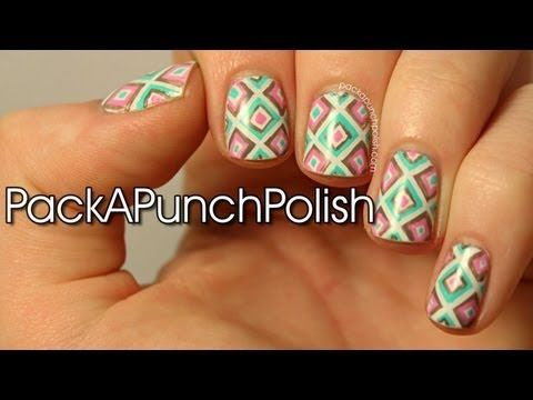 Square Geometric Print Nail Art Tutorial Inspired By Clothing From Deb Shops