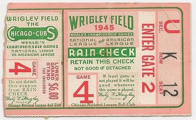1945 World Series Baseball Ticket Game 4 Chicago Cubs; this would be a neat part of Chicago history to own.