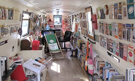 The Book Barge, a floating bookshop on a canal boat (57' Cruiser Stern) in Lichfield, Staffordshire, England.