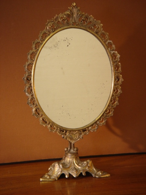 Ornate Oval Brass Dressing Table Mirror 49cm High