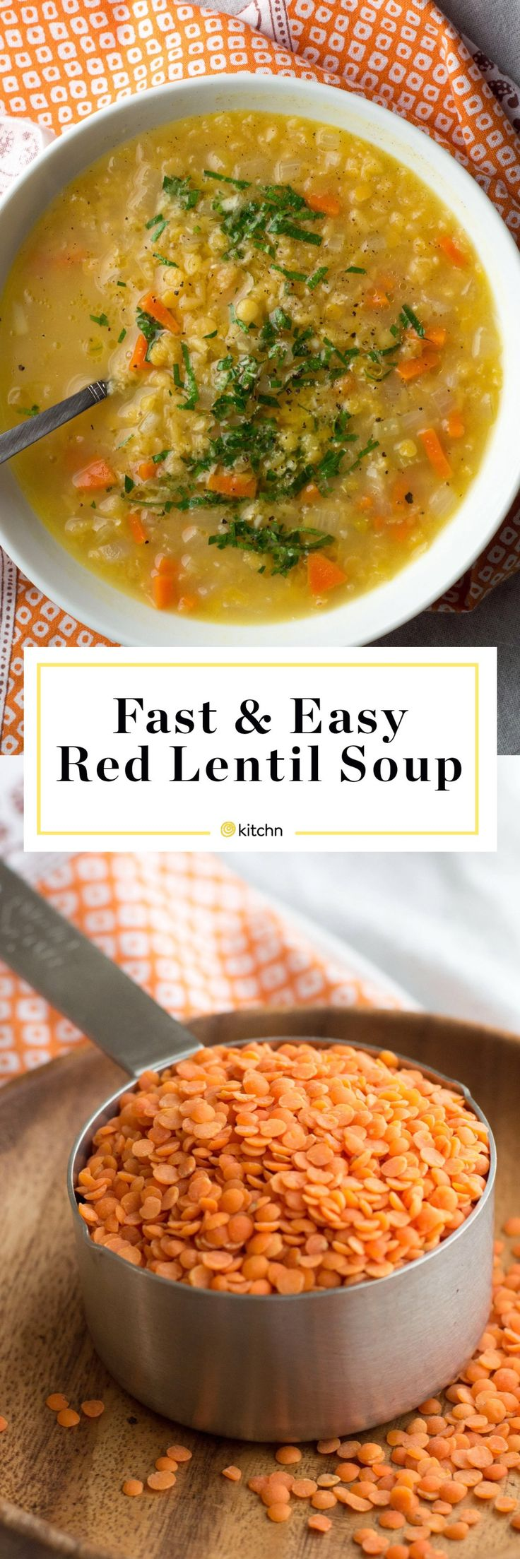 Fast and easy red lentil soup recipe. Lentil soup is simple and easy comfort food. It's my go-to when I want something hearty but healthy, or when I'm tasked with feeding vegetarian or vegan friends on a chilly day. Healthy and simple, a recipe like this one is a guaranteed crowd-pleaser. To make this easy soup recipe, you'll need olive oil, carrot, celery, onion, chicken or veggie broth and a bay leaf. Make it on the stovetop or stove top.