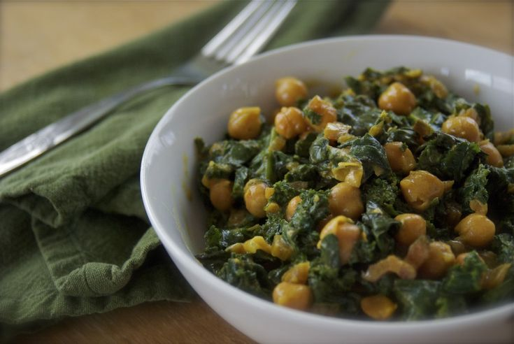 braised kale, chickpeas in coconut milk