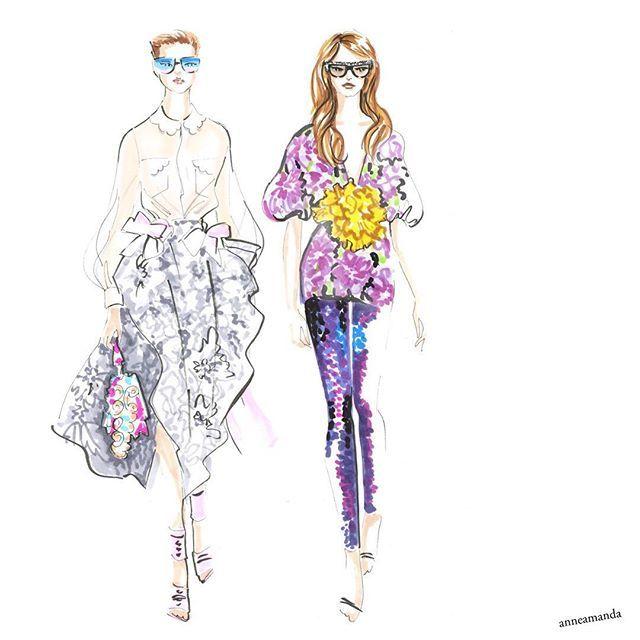 Spring florals - Fendi and Gucci ss17 #fendi #gucci #springfashion #fashionillustration #floralfashion #fashionart #fashiondrawing #fashionsketches #fashionillustrations #artfashioninspiration #copics #copicsketch #copicart