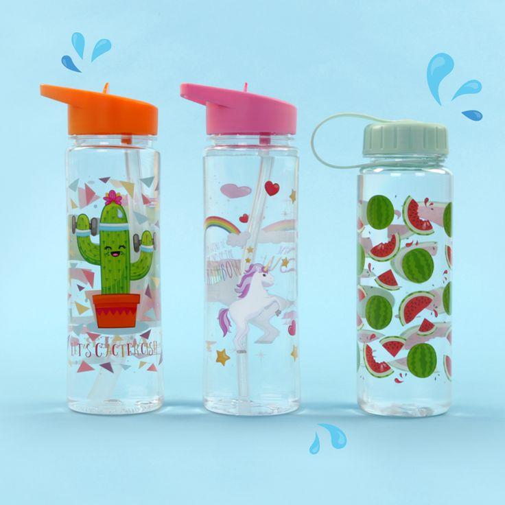 Láhev na vodu 500ml s veselými motivy Kaktus, Jednorožec a Meloun.
