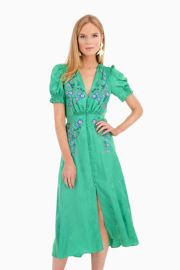f63d9d8ae Lea Dress in Kelly Green by Saloni - Tnuck | The out-ward-me ...